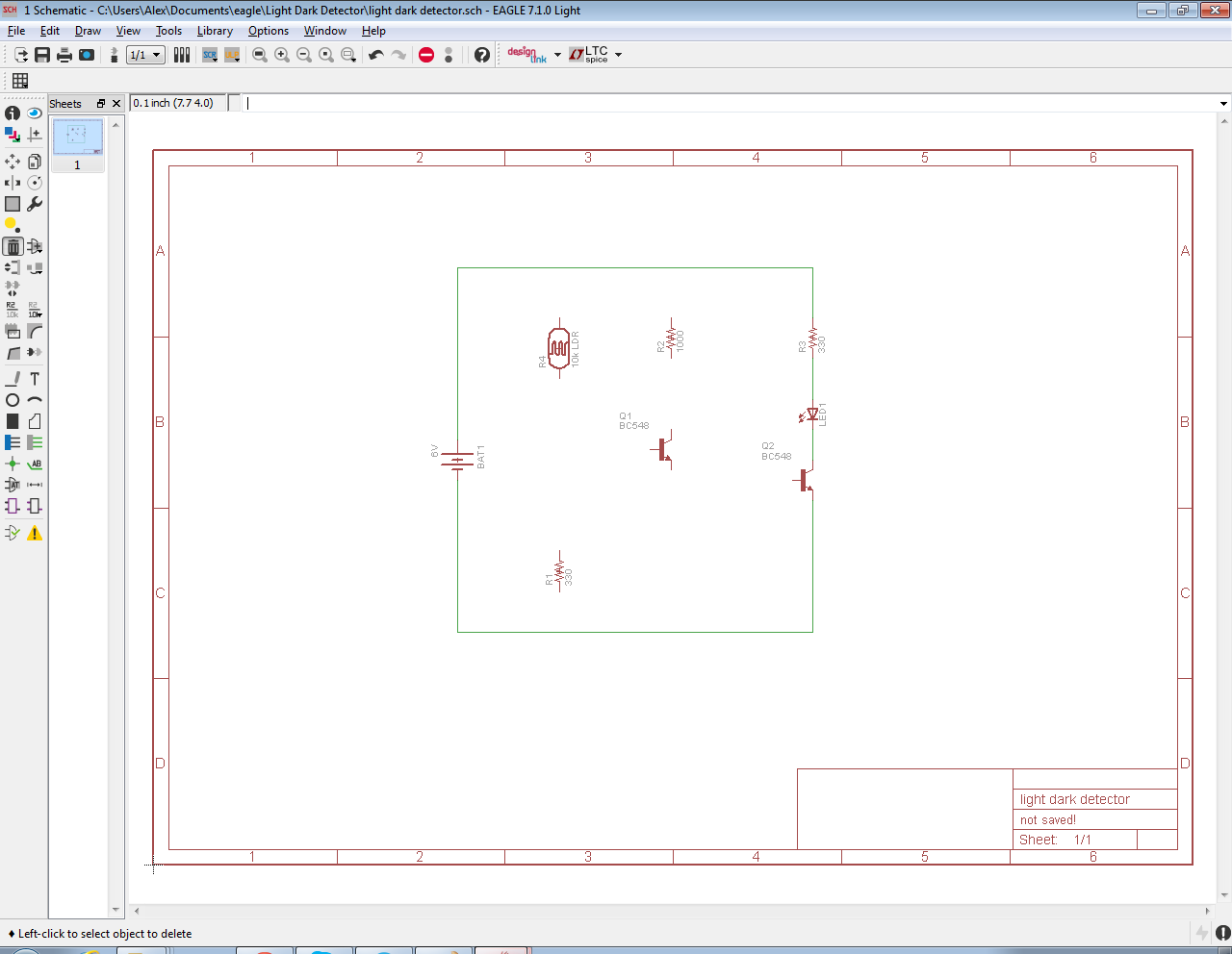 The Answer Is 42 How To Input A Schematic Diagram Using Cadsofts Circuit Uses An Ldr Or Light Dependent Resistor You May Also Have Noticed That I Moved Q1 Transistor And R1 Match Positioning Shown In Sketch