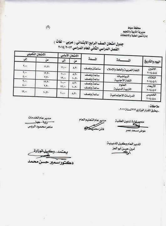 جدوال امتحانات الترم الثانى 2014 محافظة دمياط جميع المراحل الدراسية 1009995_557112477738