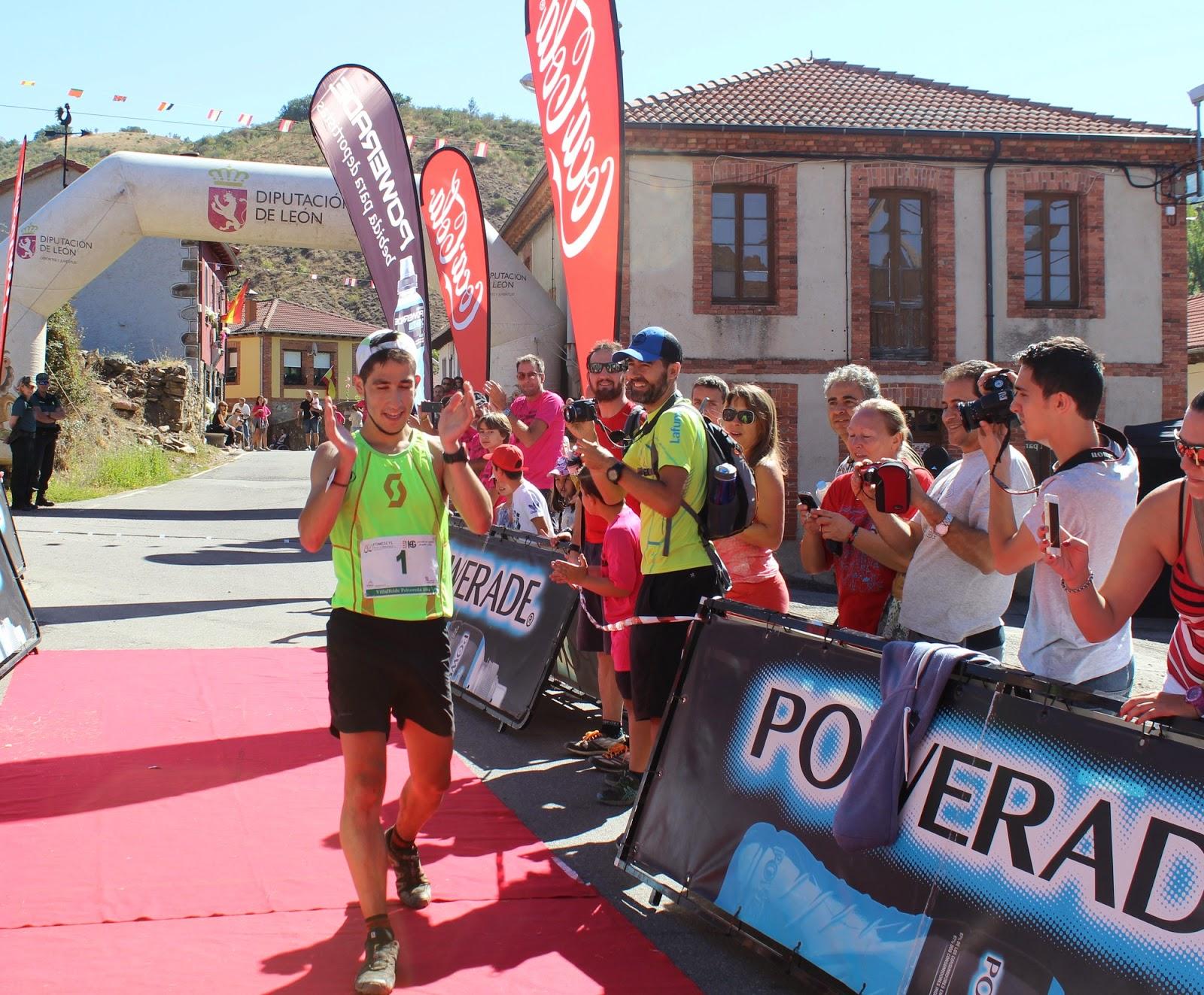 Pablo Villa celebra el triunfo en Villalfeide-Polvoreda, en 2014 . /FDMESCYL