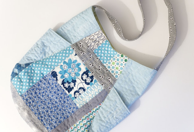 aqua blue grey quilt as you go 241 tote bag purse quilted