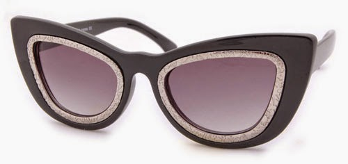 BLACK GOLD CAT EYE VINTAGE STYLE SUNGLASSES