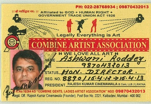 Artist card issued by Roddey Film Productions, Mumbai