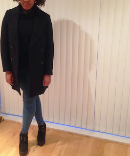 Zara Long Wool Double Breasted Coat Underground Creepers Wedge