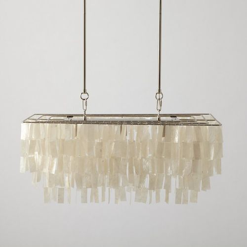 West Elm Large Rectangle Hanging Capiz Chandelier