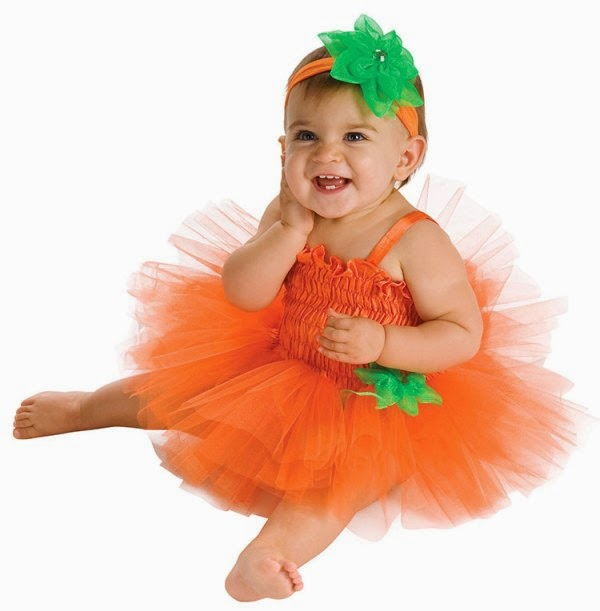 Foto bayi lucu pakai kostum tutu dress orange
