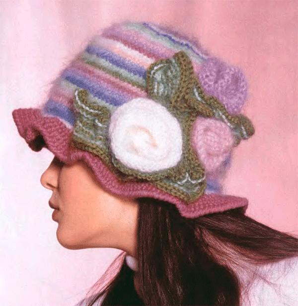 Вязаная шапочки в полоску