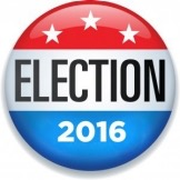 American flag style campaign button reading ELECTION 2016