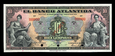 Honduras currency money 10 Lempiras banknotes Bank Atlantida