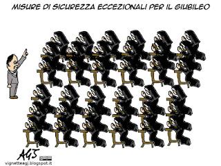 giubileo, terrorismo, isis, sicurezza, alfano, satira vignetta