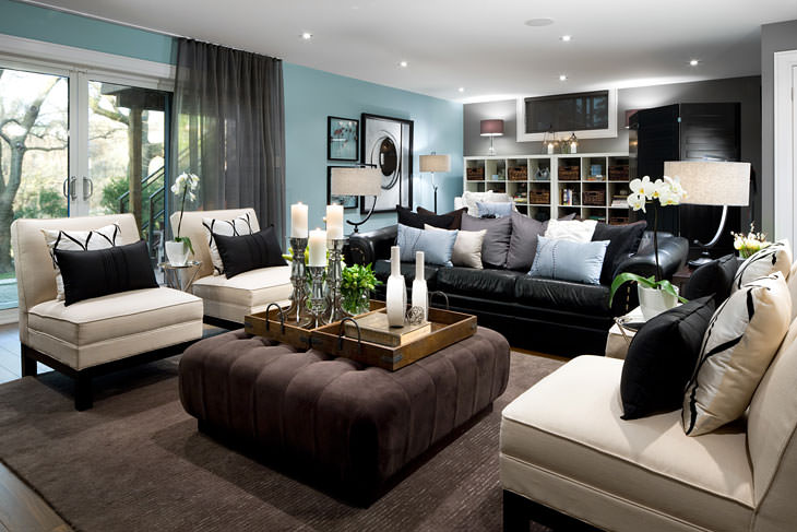 Blog achados de decora o decora o para salas de for Black and blue wallpaper for living room