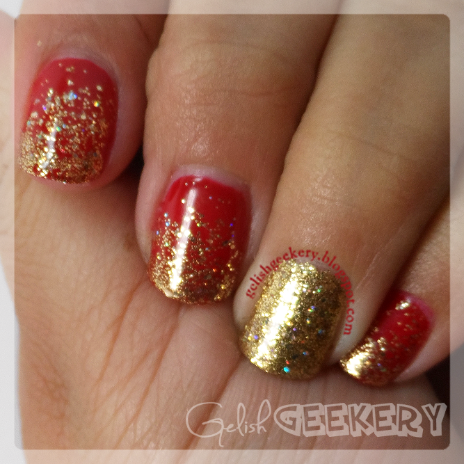 Gelish Christmas Gryffindor Red and Gold Nails