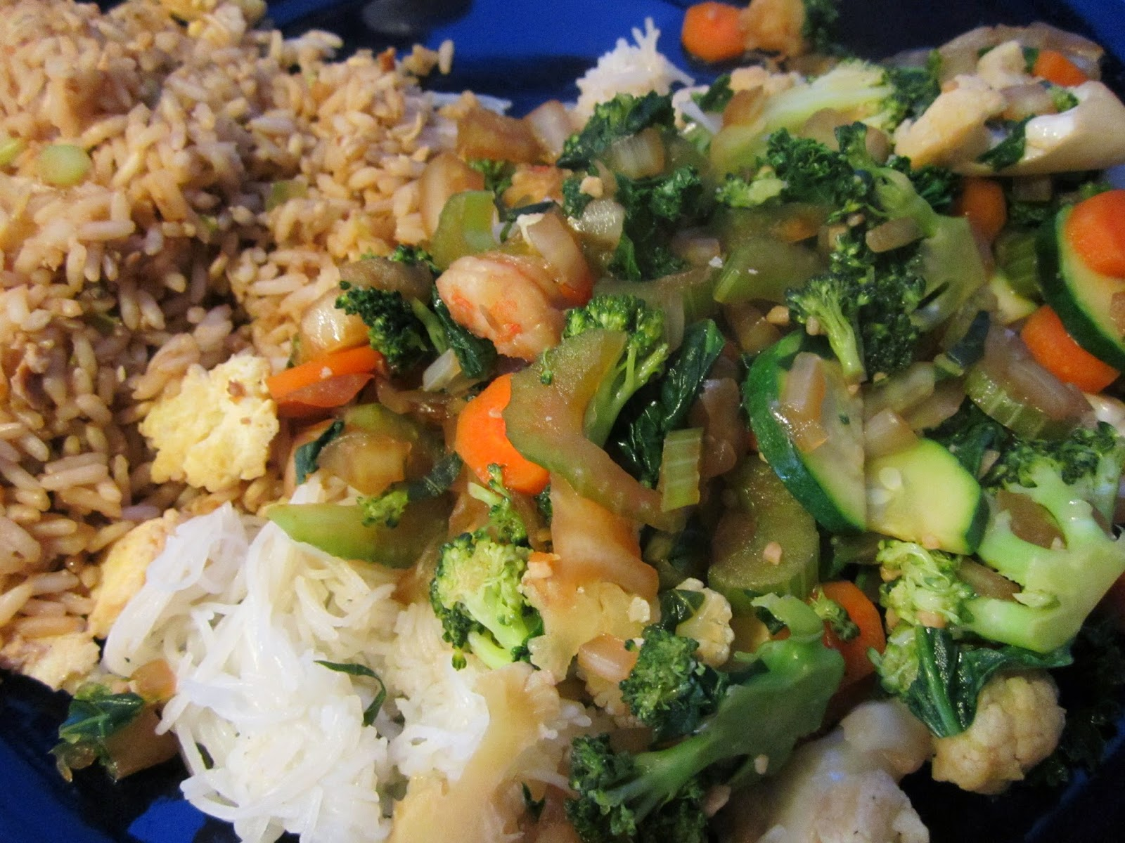 ... Shrimp and Tofu Stir Fry Over Rice Noodles & Fried Rice - Gluten Free