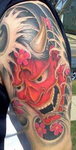 Japanese Hannya Mask Tattoos on Sleeve