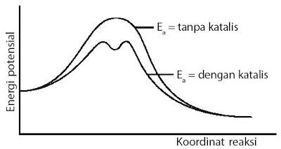 Mekanisme reaksi yang ditempuh oleh katalis adalah dengan cara menurunkan energi pengaktifan reaksi.