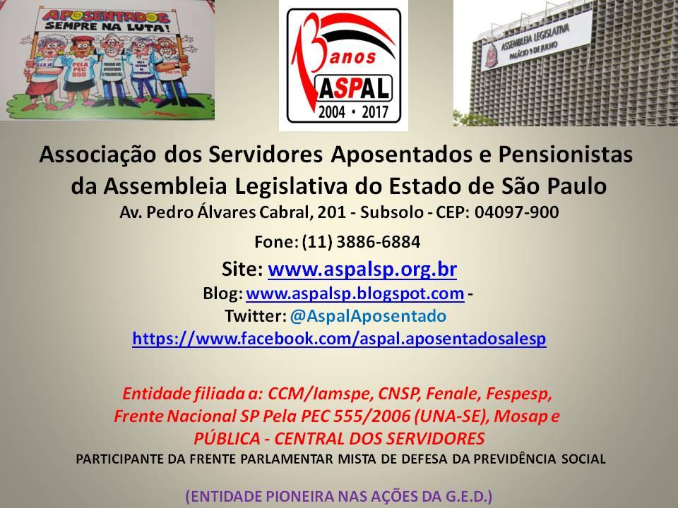 """""""EM DEFESA DOS APOSENTADOS E PENSIONISTAS DA ALESP"""""""