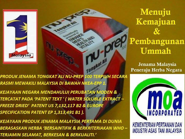 TONGKAT ALI NU-PREP 100 PRODUK RASMI MALAYSIA KE PASARAN GLOBAL ;BERSAINTIFIK; BERKRITERIAKAN WHO