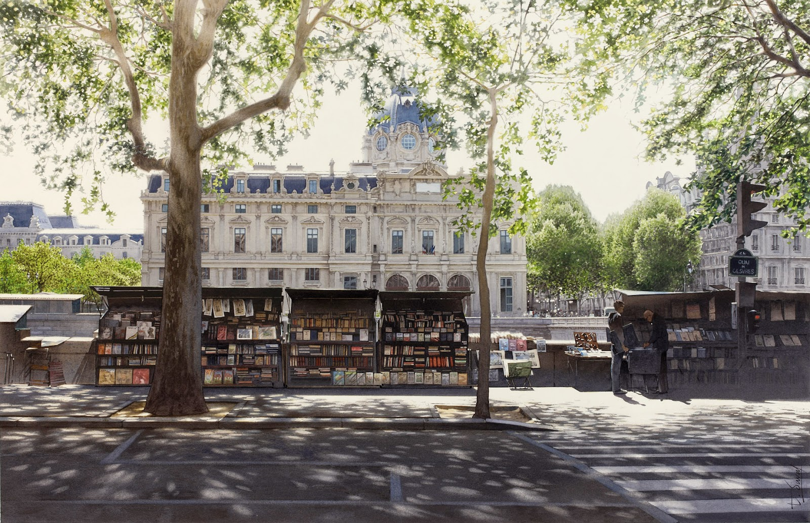 30-Thierry-Duval-Snippets-of Real-Life-in Watercolor-Paintings-www-designstack-co
