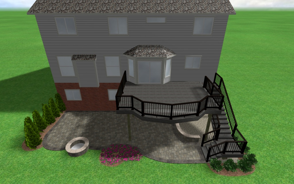 On this design the homeowner wanted a patio space to service their walkout basement and a deck to service the first floor. & Outdoor Living: Michigan deck designs u0026 deck building ideas