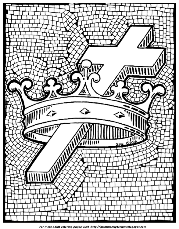 coloring page description cross and crown adult coloring page mosaic tile offices of christ