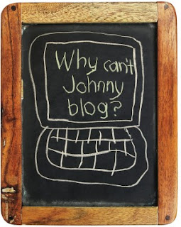 a chalk board image of a computer, with why can't Johnny blog?