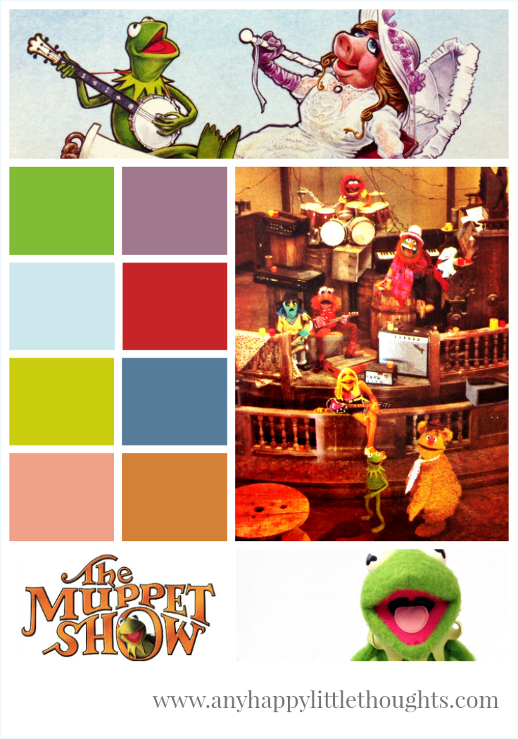 mood board featuring The Muppet Movie, The Muppet Show, Kermit - memory keeping | www.anyhappylittlethoughts.com