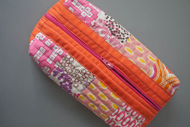 patchwork box pouch pattern orange pink