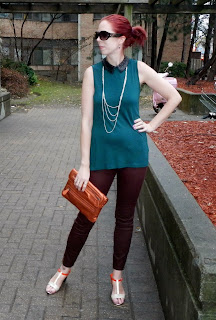 Smart Set Outfit #1: Emerald Green Sparkle collar top, burgundy pants, and silver long necklace, H&M sunglasses, orange shoppers drugmart clutch, fashion, style, orange Jessica heel shoes from Sears Canada