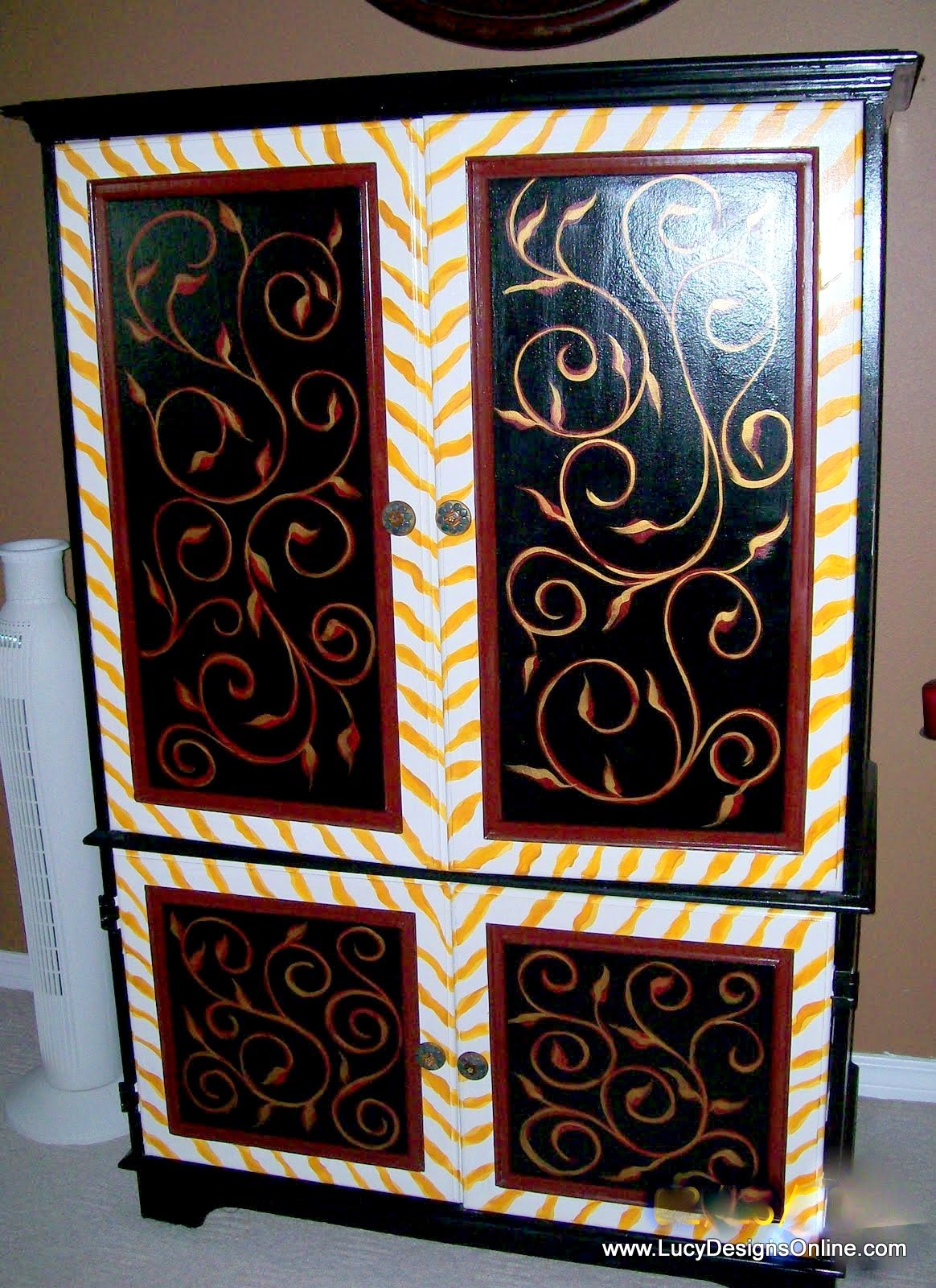 hand painted armoire with yellow zebra