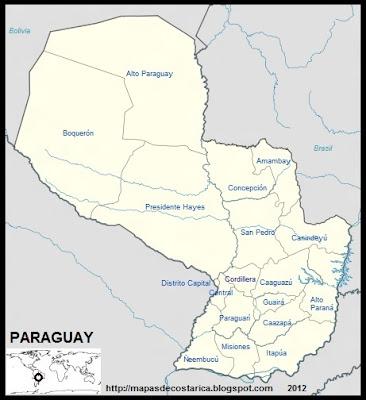 Mapa de la organización política de PARAGUAY, nombre de las regiones