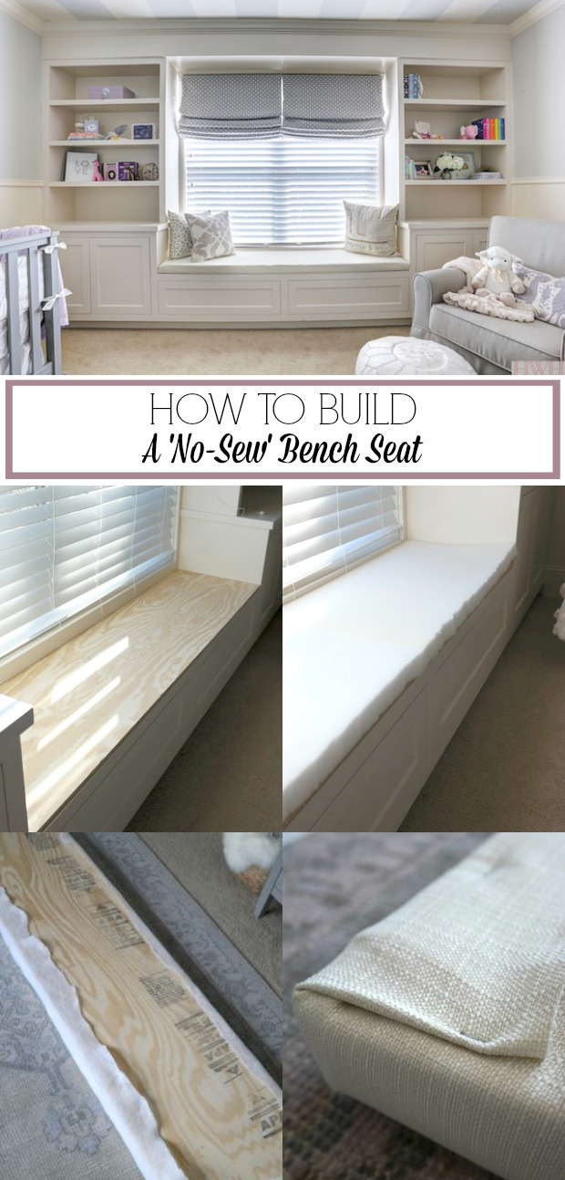 How to Build a No-Sew Bench Seat (easy and inexpensive) | Honey We're Home