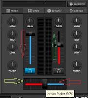 Virtualdj 8 Tutorial: Tombol Cross Fader atau Level untuk proses ganti lagu