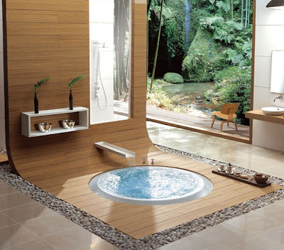 baño zen madera piedra metal