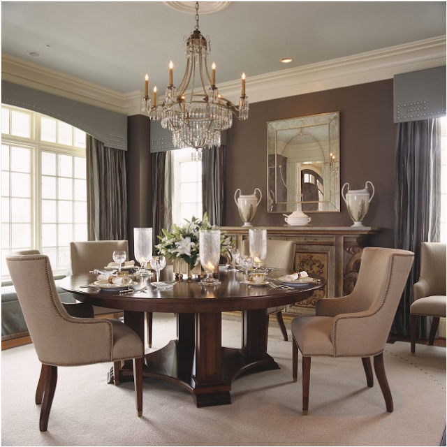 Traditional dining room design ideas simple home for Decorating ideas for large dining room wall
