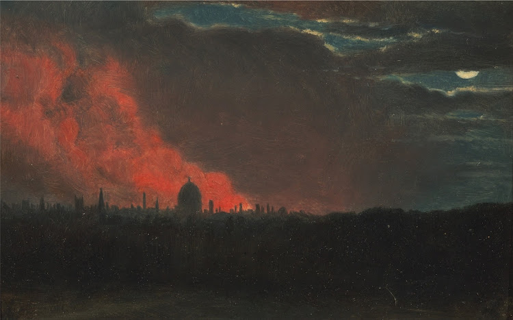John Constable - Fire in London, seen from Hampstead