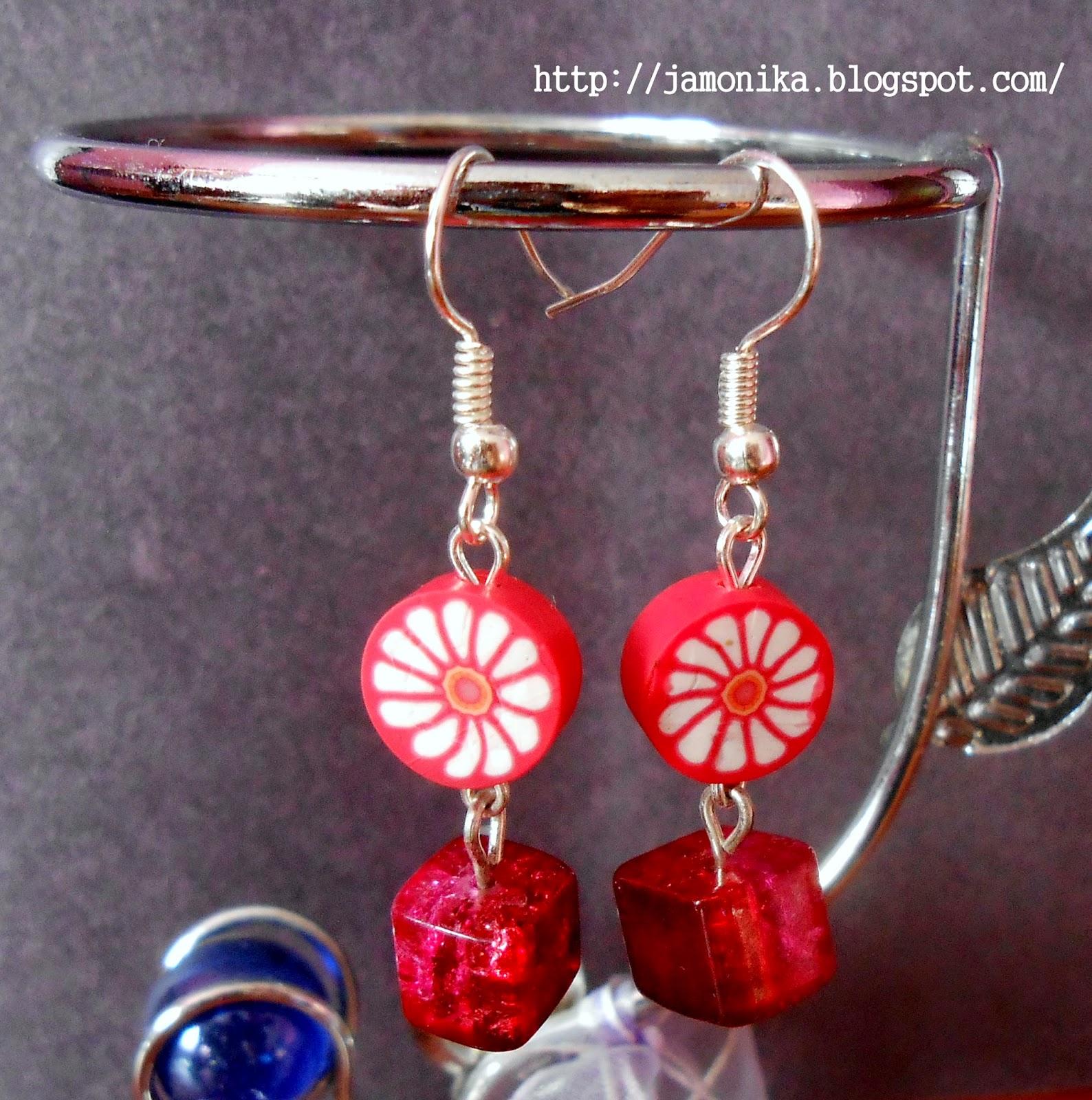 Czerwone kolczyki z koralików fimo