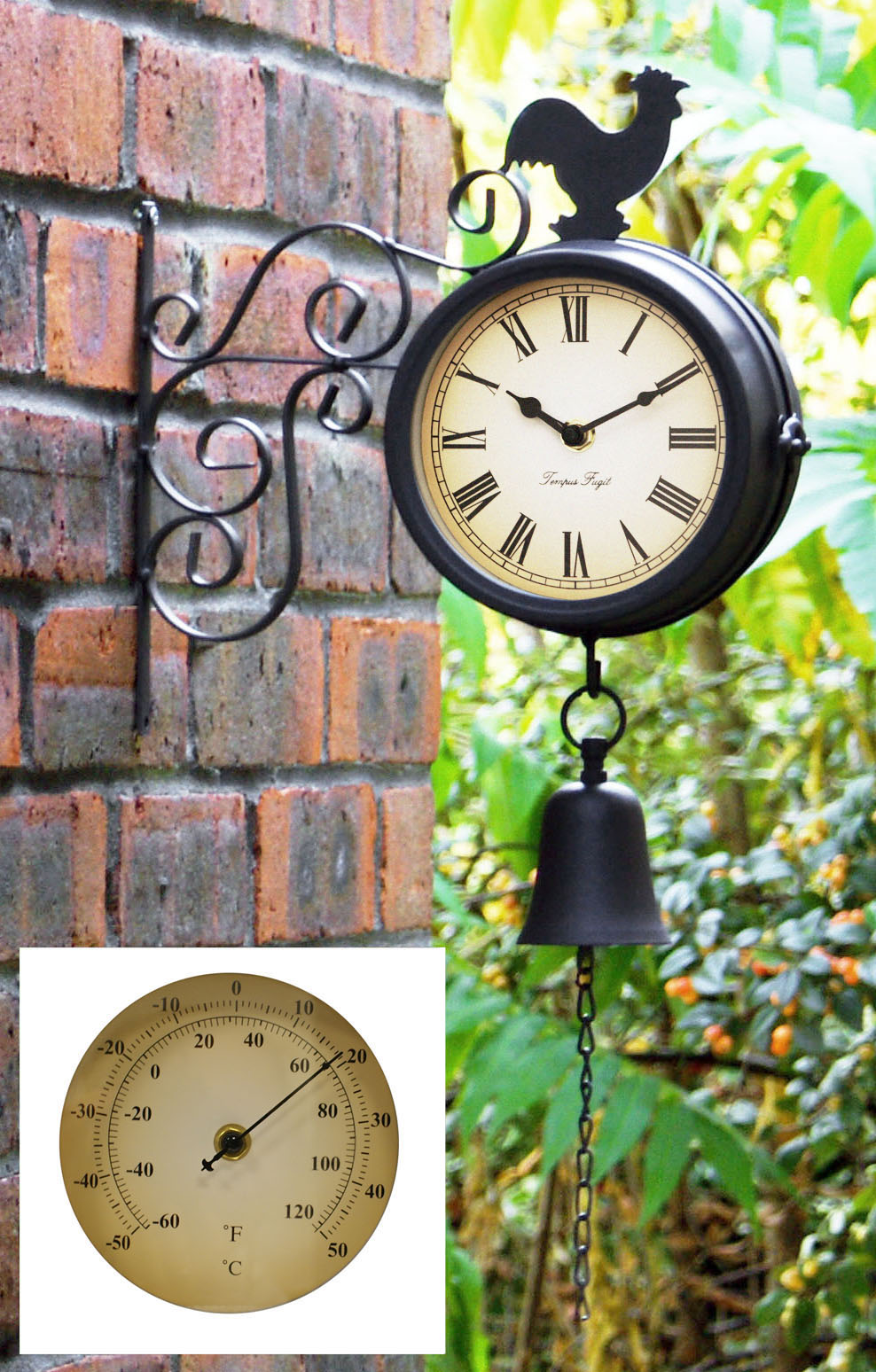 Rooster clock thermometer indoor or outdoor friday finds cockerel bell clock thermometer amipublicfo Images