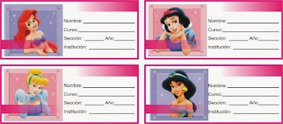 etiqueta para cuadernos de las cuatro princesas de disney