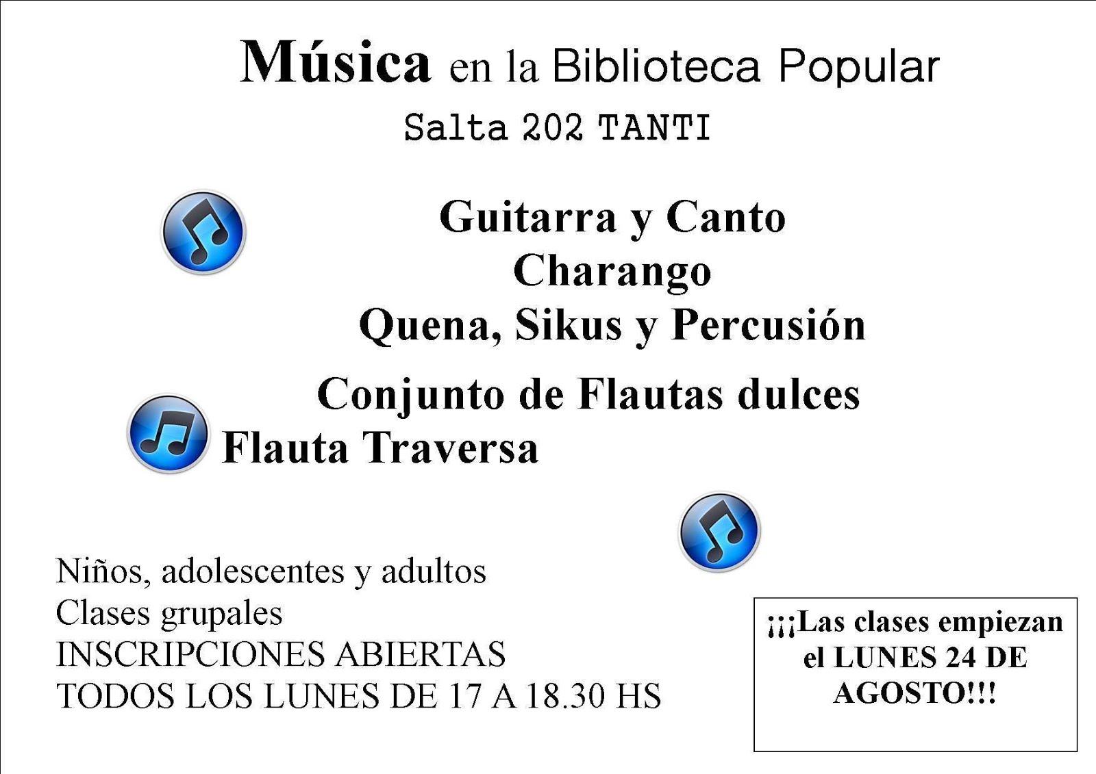 CLASES DE MÚSICA EN LA BIBLIOTECA POPULAR