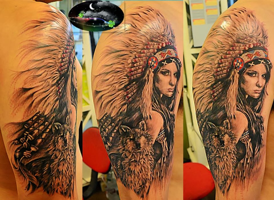 Native American Woman Wolf Tattoo Wolf With Native American