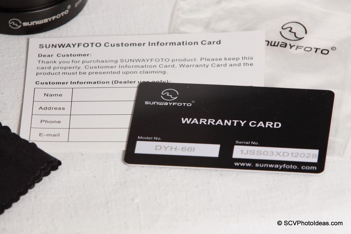 Sunwayfoto DYH-66i warranty & customer cards