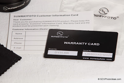 Sunwayfoto DYH-66i warranty & customer cards