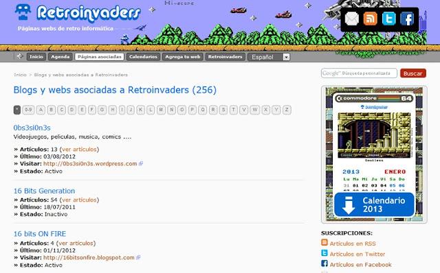 Un byte de páginas asociadas a Retroinvaders