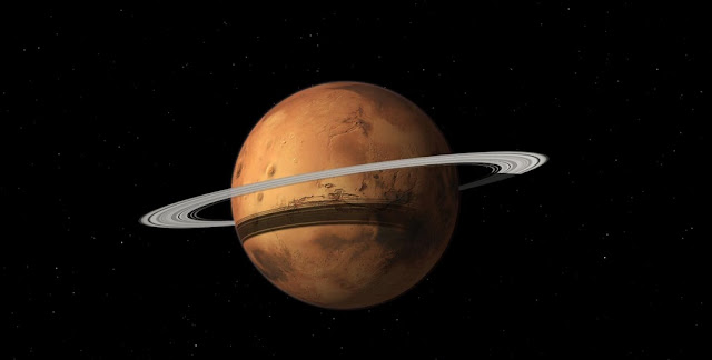 Mars could gain a ring in 10-20 million years when its moon Phobos is torn to shreds by Mars gravity. Credit: Tushar Mittal using Celestia 2001-2010, Celestia Development Team
