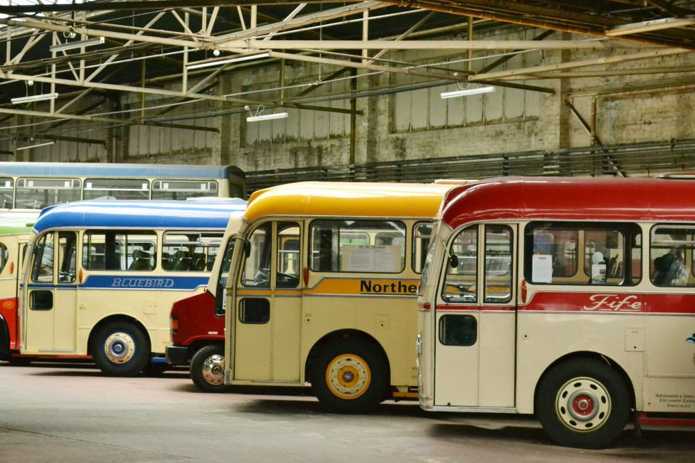 colourful vintage buses glasgow bridgeton bus garage vintage vehicle trust doors open day