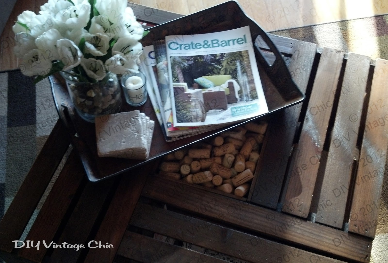 Diy vintage chic vintage wine crate coffee table a few of my favorite inspirational magazines also included are my coasters also known as cheap tiles from lowes theyll geotapseo Choice Image