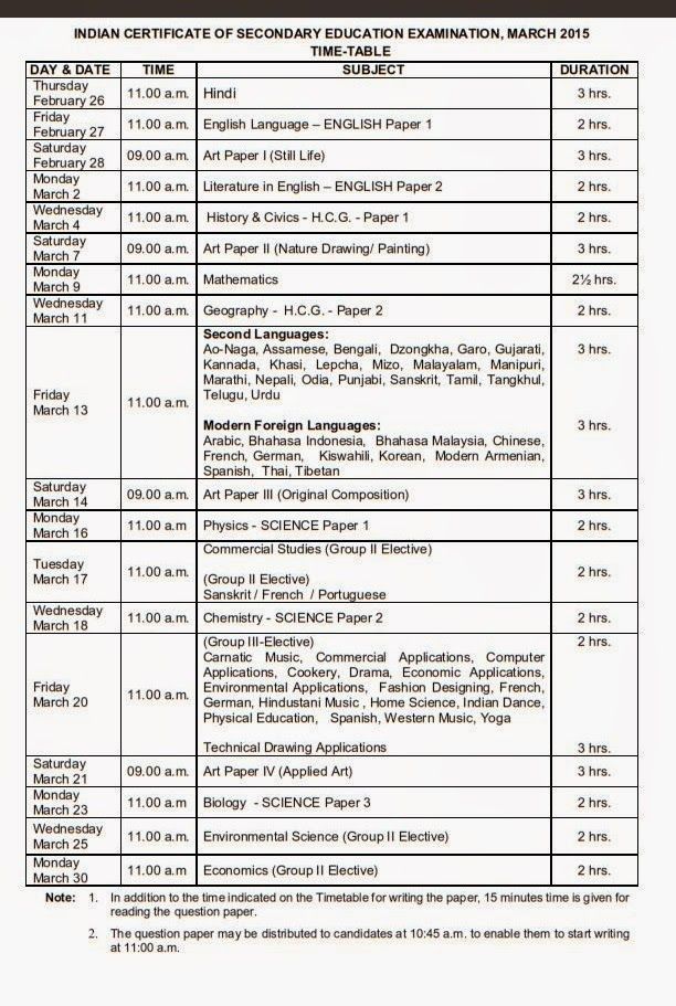 ICSE Board 12th Exam Time Table 2014