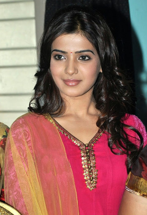 samantha beautiful in pink churidar