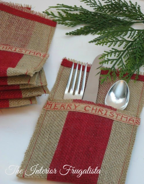 Red striped holiday flatware pouches View 2
