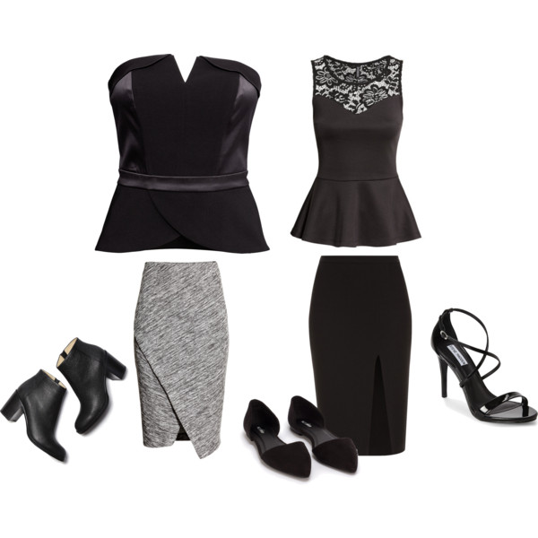 OUTFIT INSPIRATION - PEPLUM TOP AND SLIT SKIRTS