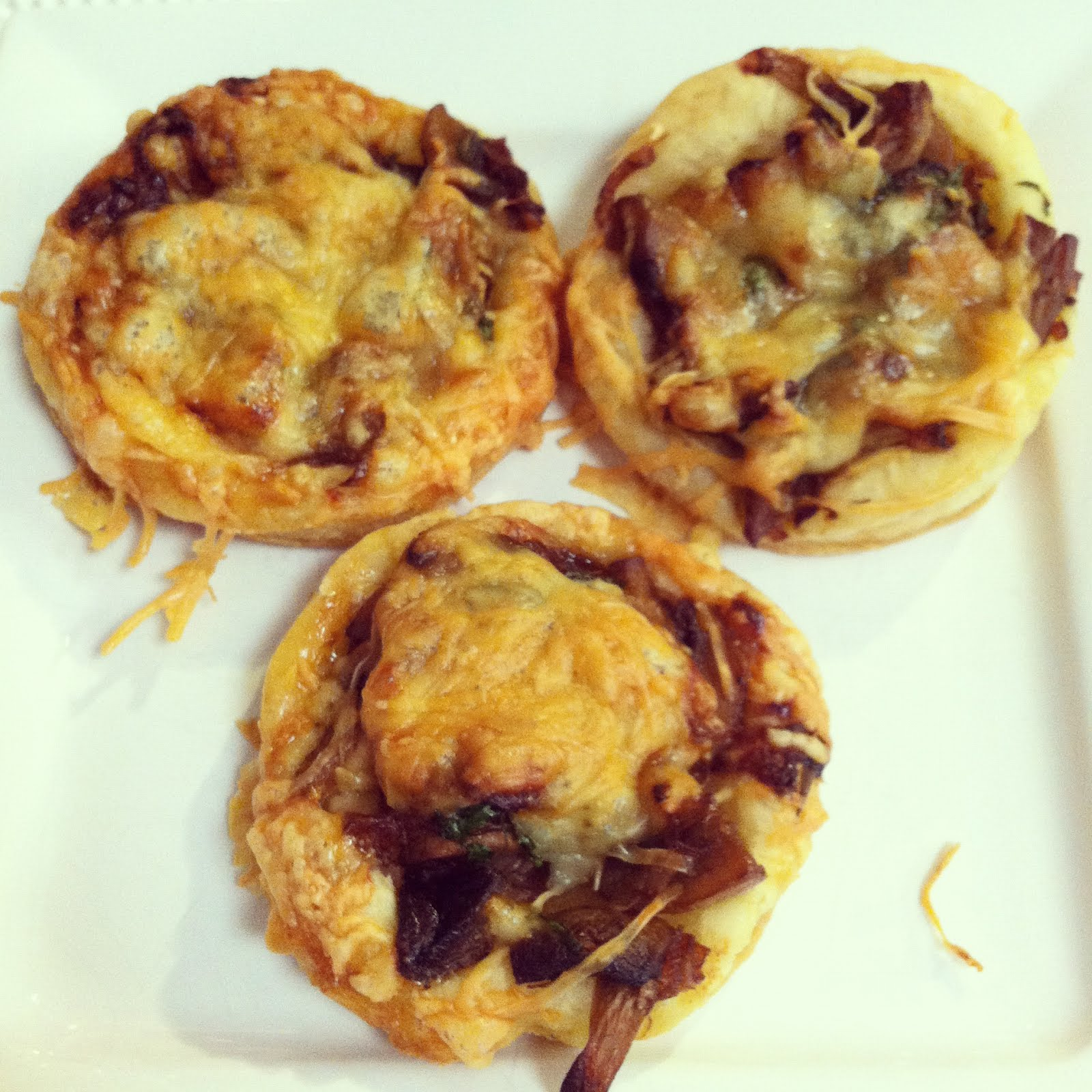 ... and dirty diapers: Carmelized Onion, Mushroom, and Gruyere Tartlets